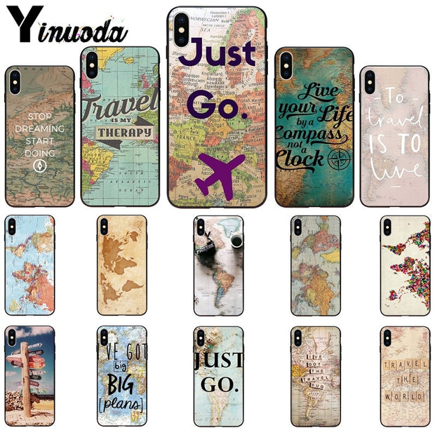 Yinuoda World Map Travel Just Go Pattern TPU Soft Phone Cell Phone Case For IPhone X XS MAX 6 6s 7 7plus 8 8Plus 5 5S SE XR