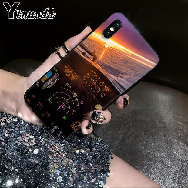 Yinuoda Cool Aircraft Airplane Cockpit TPU Black Phone Case Cover Shell For IPhone 6S 6plus 7 7plus 8 8Plus X Xs MAX 5 5S XR