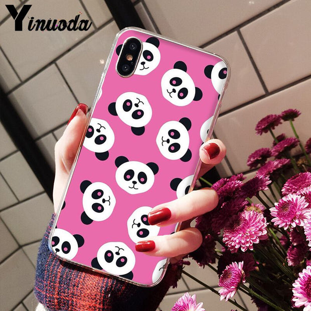 Yinuoda Cute Panda Novelty Fundas Phone Case Cover For Apple IPhone 8 7 6 6S Plus X XS MAX 5 5S SE XR Mobile Cases