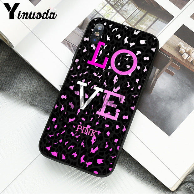 Yinuoda Love Pink Girly Soft Rubber Black Phone Case For Apple IPhone 8 7 6 6S Plus X XS MAX 5 5S SE XR Cover