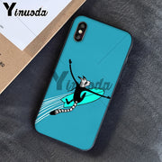 Yinuoda Surfboard Surfing Art Surf Girl Black Soft Shell Phone Cover For Apple IPhone 8 7 6 6S Plus X XS MAX 5 5S SE XR Cases
