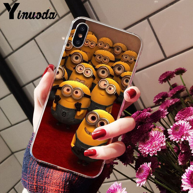 Yinuoda Yellow Minions Luxury Unique Design Phone Cover For IPhone 8 7 6 6S Plus 5 5S SE XR X XS MAX Coque Shell