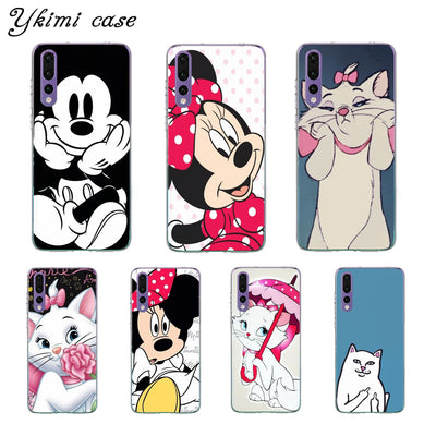 Ykimi Case For Huawei P8 P9 Lite 2017 P20 Lite Pro Case Cute Cartoon Mickey Minnie Cover Transparent Soft Silicone TPU Capa