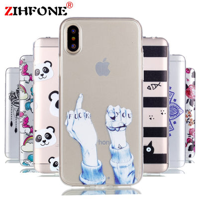 ZIHFONE Flower Silicon Phone Case For IPhone 7 8 Plus Rose Floral Smile Cases For IPhone X 8 7 6 6S Plus 5 5S SE Soft TPU Cover