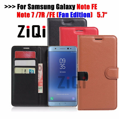 ZiQi Case For Samsung Note Fan Edition Cover PU Leather Flip Case For Samsung Galaxy Note 7 FE Fan Edition Kickstand Shell Coque
