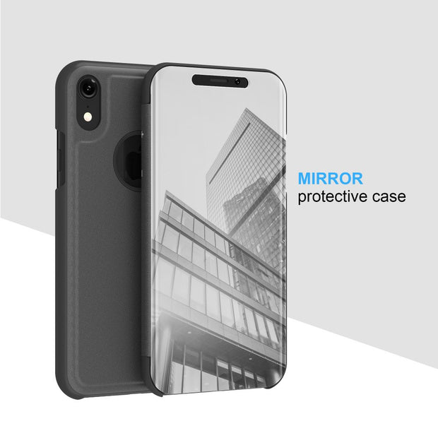 Zxtrby Smart View Case For IPhone XR XS MAX Luxury Flip Stand Mirror Flip Phone Cover Shell Clear Screen PC Phone Cases