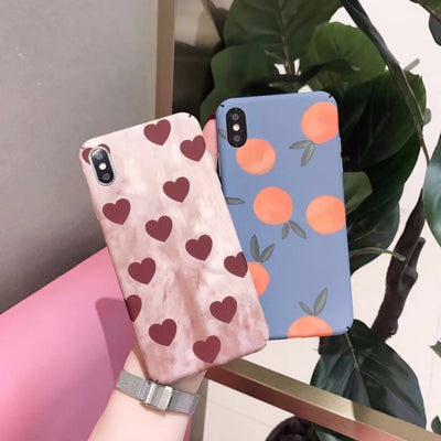 Zxtrby Vintage Love Heart Phone Case For IPhone XR XS XSM X 6 6S 7 8 Plus Cute Orange Matte Hard PC Mobile Back Cover