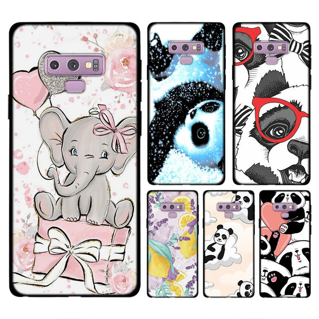 Animal Wolf Dog Panda Flower Phone Case For Samsung Galaxy Note 9 8 S8 S9 Plus S7 Soft Silicone Black Case For Galaxy Note 9 8