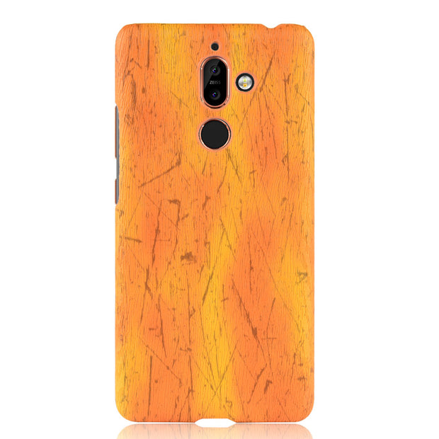 new arrival 0df29 47233 For Nokia 7 Plus Case Skin Protective Wood Grain Hard PC And Leather Back  Cover Case For Nokia 7 Plus Case