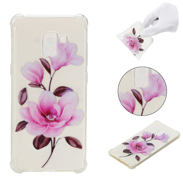 For Samsung Galaxy A8 (2018)/A8+ (2018) Case Fashion Painting Pattern Transparent Soft Cover Reinforced Corner Protective Shell