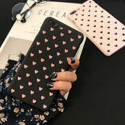 IPWSOO Cute Phone Case For IPhone 6 6S 7 8 Plus X Case Pink Couples Love Heart Pattern Hard PC For IPhone 5 5S SE Phone Fundas