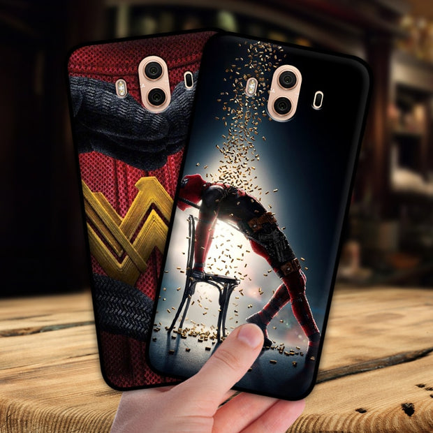 Mosirui For Huawei Mate 10 Pro Case Marvel Hero Deadpool Spiderman Black Panther Hulk Silicone Soft Shell Black Matte Phone Case