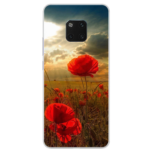 Silicone Case For Huawei Mate 20 Pro Case Soft TPU Back Cover For Huawei Mate20 Pro Phone Cases Floral Coque Mate 20pro Fundas