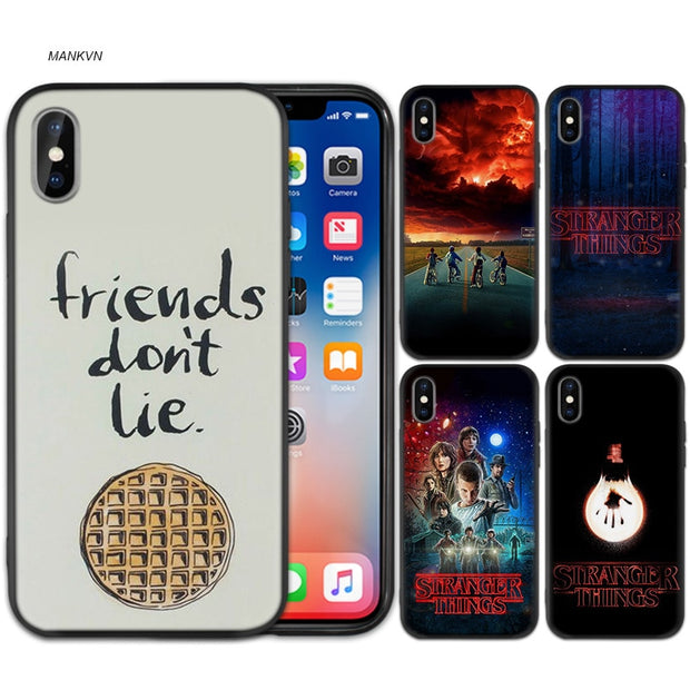 Stranger Things Poster Black Scrub Silicone Soft Case Cover Shell For IPhone XS Max X XR 6 6s 7 8 Plus 5 SE 5S