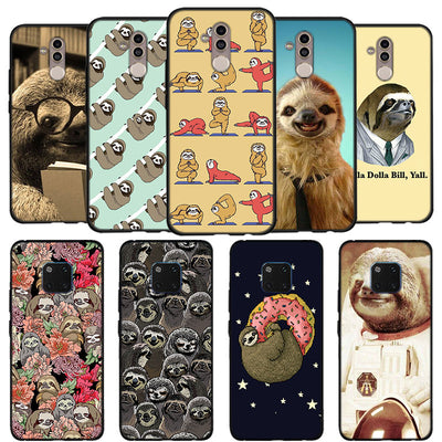 Yoga Sloth Rose Phone Case For Huawei Mate 10 20 Lite Mate 10 20 Pro P20 Lite Black Soft Silicone Coque Case