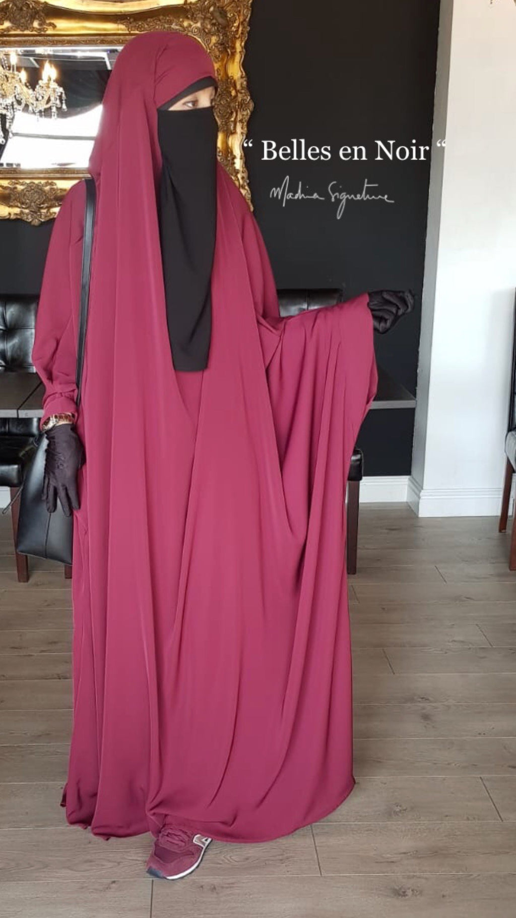 NEW JILBAB KIMONO YASMEEN BURGUNDY (LACE OR PLAIN