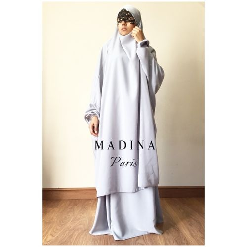 JILBAB CLASSICAL 2 PIECES SKIRT OR SERWAL LIGHT GREY/