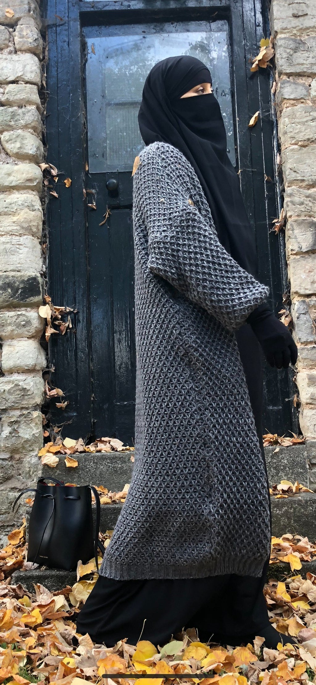 MAXI CARDIGAN KNIT CABLE GREY