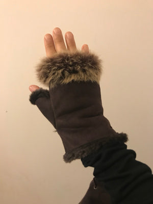 HALF GLOVES / MITTENS FUR KNIT