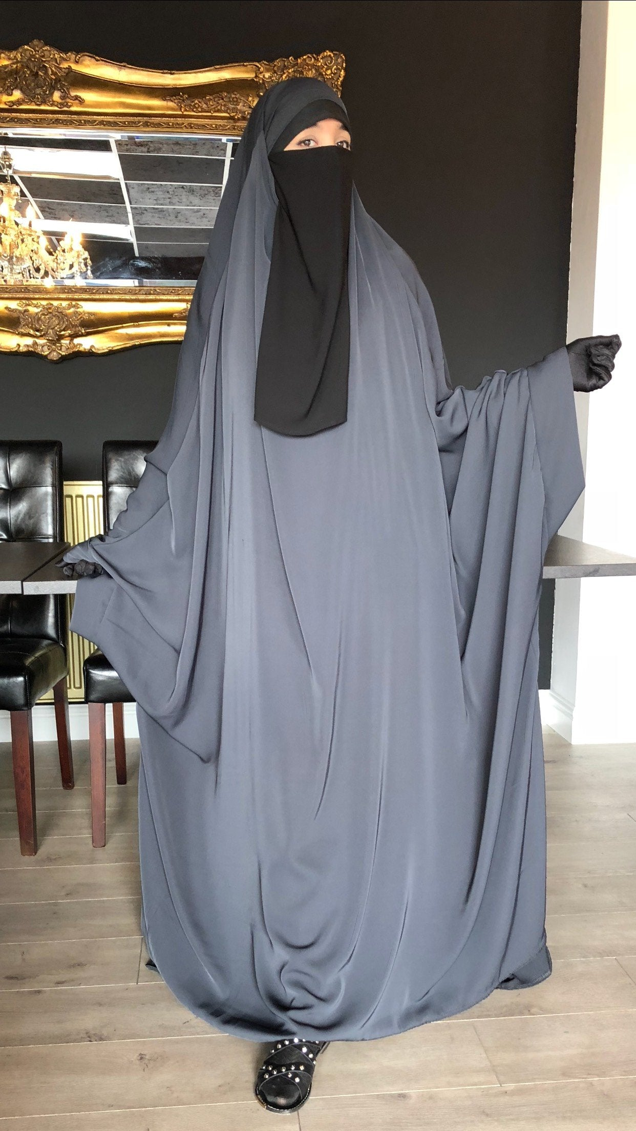 NEW JILBAB KIMONO YASMEEN GREY (LACE OR PLAIN SLEE