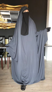 JILBAB KIMONO YASMEEN DELUXE GREY (LACE OR PLAIN SLEEVES)
