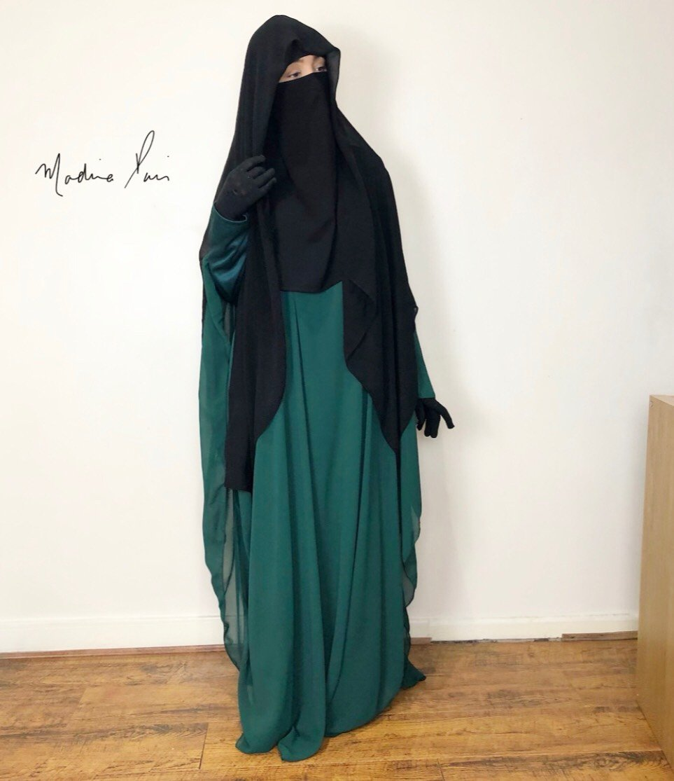 NEW ABAYA SAHARA 2 CHIFFON OPENED SIDES FOREST GREEN