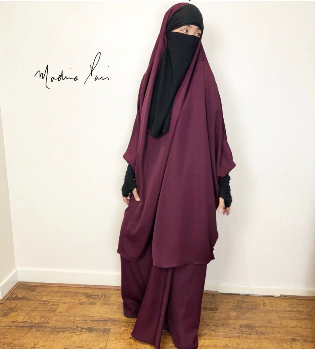 NEW JILBABE 2P SET SKIRT NOOR PRESTIGE MITAINS /DEEP BURGUNDY