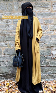 MAXI CARDIGAN POMPOMS KNIT Mustard & Black