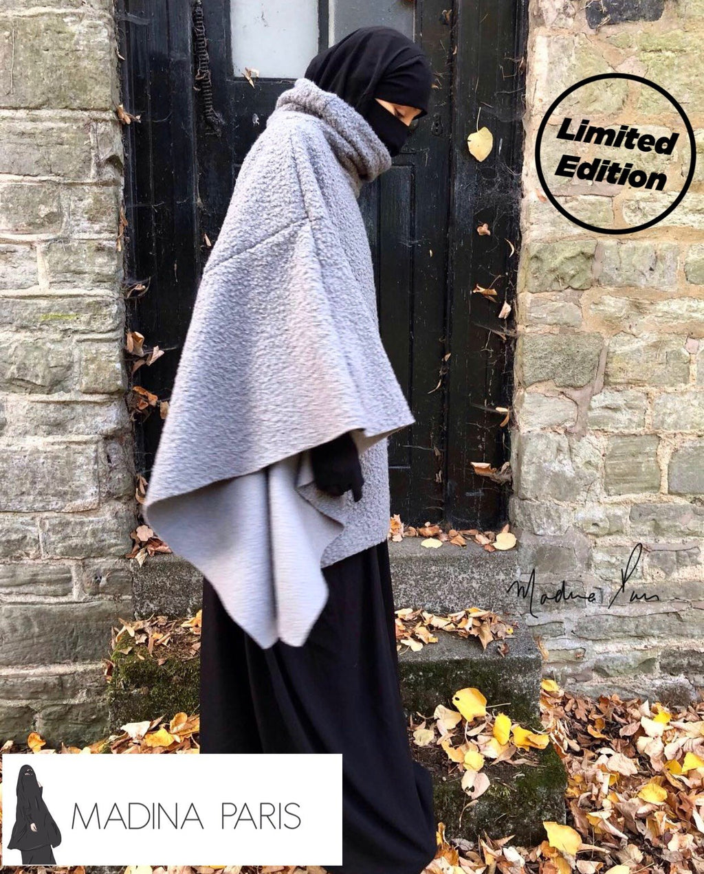 NEW MADINA WINTER PONCHO KNIT GREY