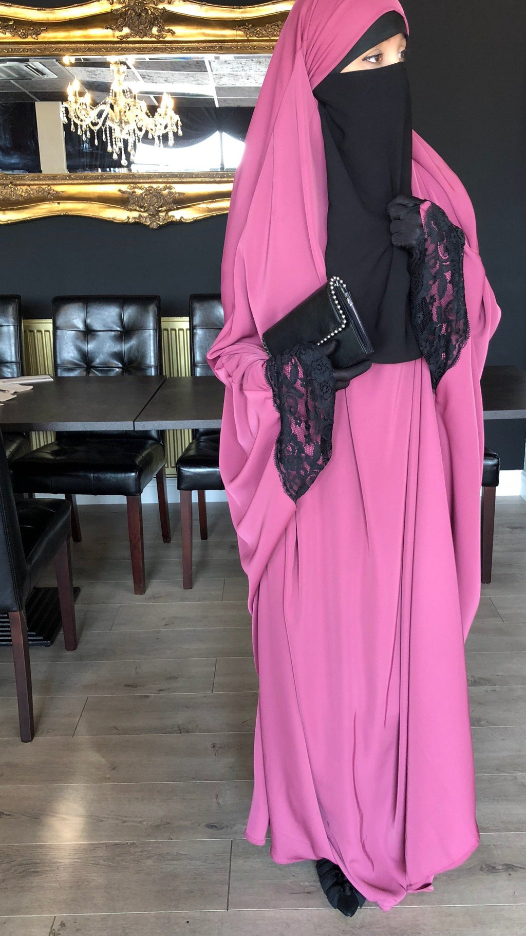 NEW JILBAB KIMONO YASMEEN PINk (LACE OR PLAIN SLEEVES )MADINA SIGNATURE