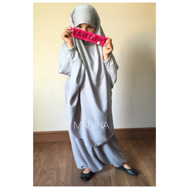 JILBAB GIRL SERWAL grey light
