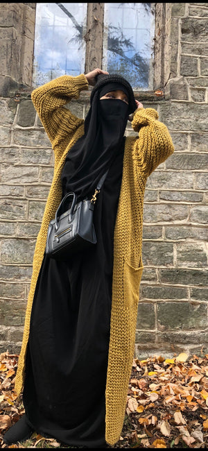 MAXI CARDIGAN POCKETS MUSTARD KNIT WINTER CO