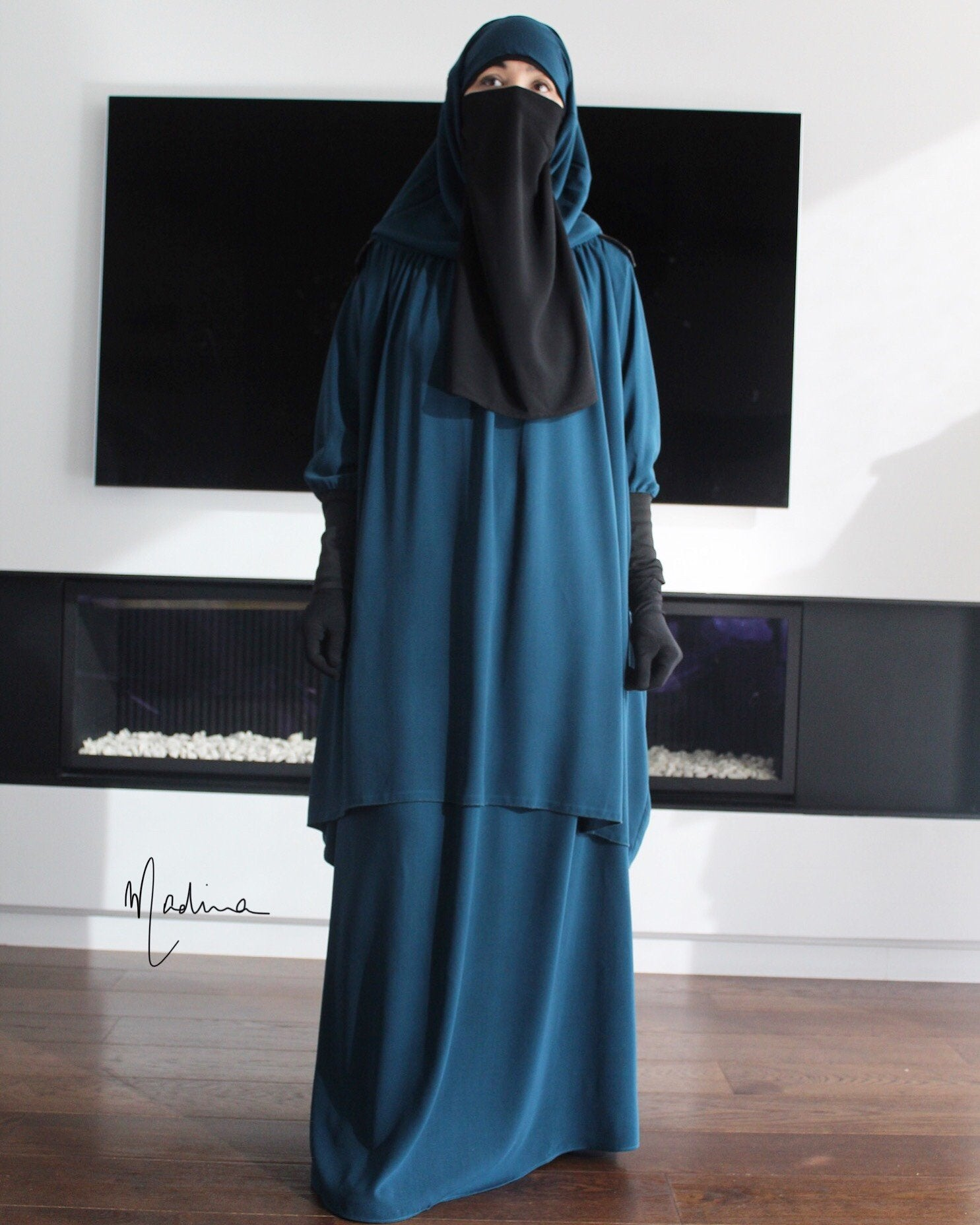 JILBAYA NOOR 2 PIECES SKIRT BLACK/TEAL