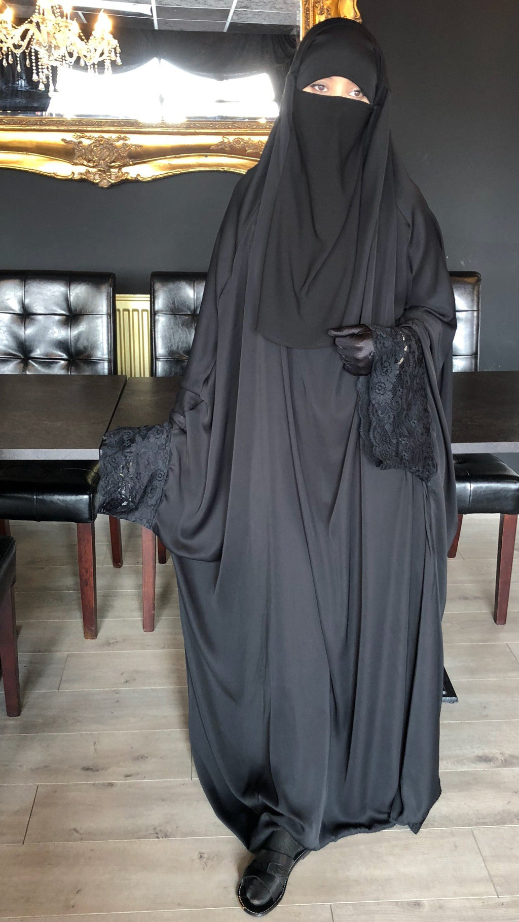 JILBAB KIMONO YASMEEN SUPER DELUXE JET BLACK (LACE OR PLAIN)