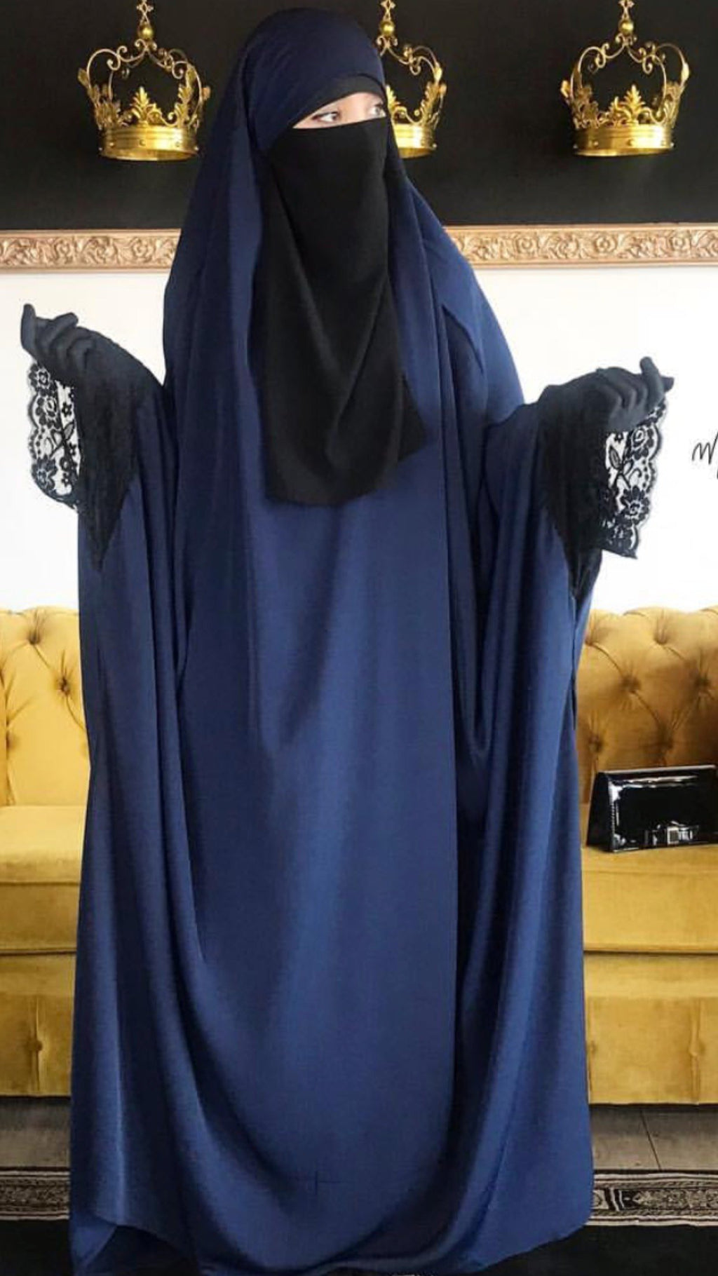 NEW JILBAB KIMONO YASMEEN NAVY (LACE OR PLAIN SLEEVES ) MADINA SIGNATURE