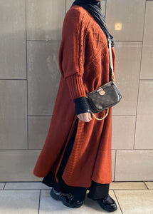 NEW MAXI LONG SWEAT KNIT CABLE TAN