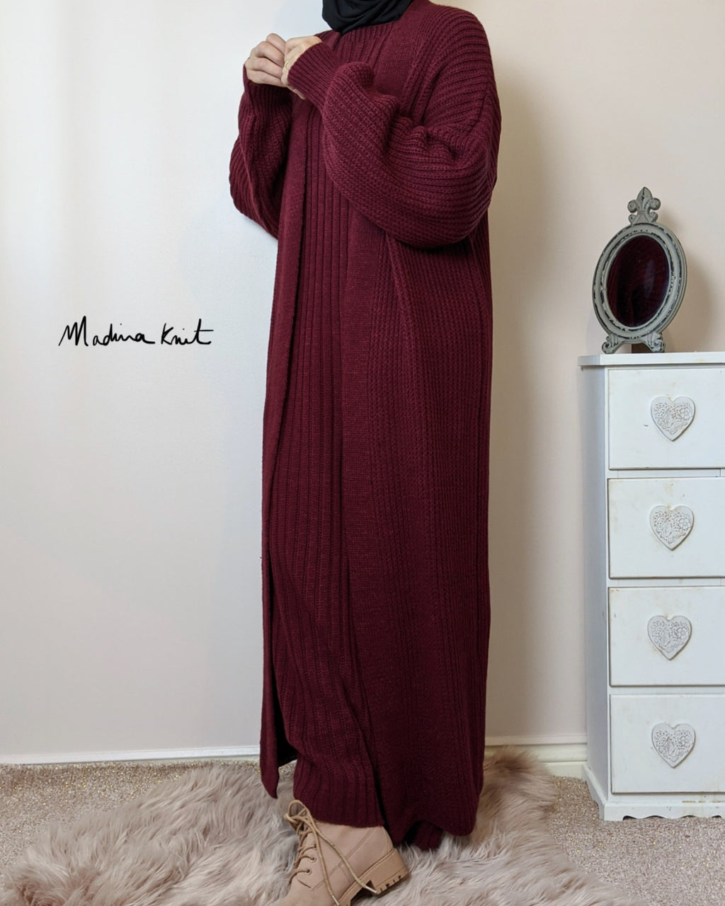 Winter Set Premium AYDA Maxi Cardigan + Dress Burgundy