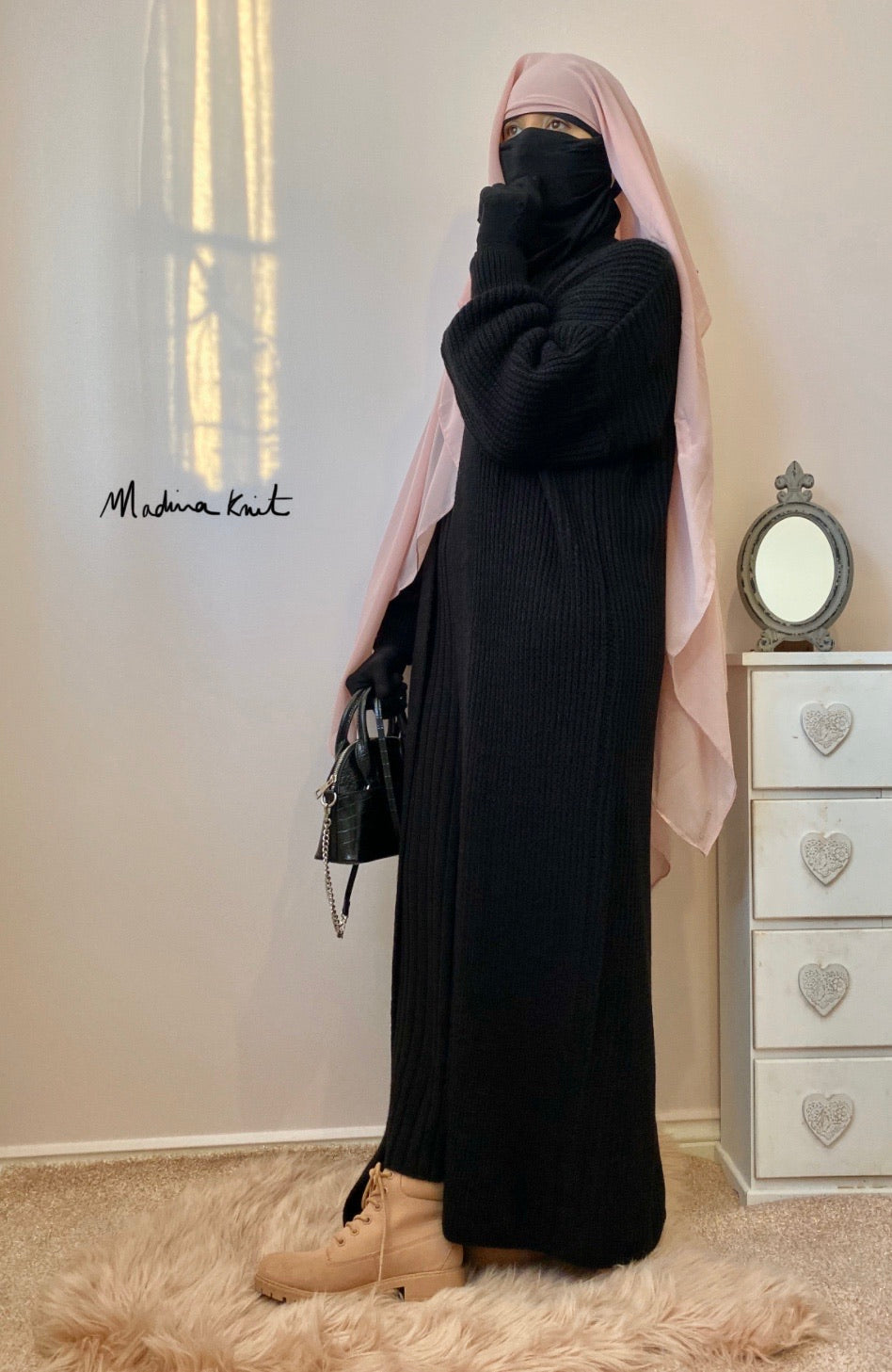 Winter Set AYDA Maxi Cardigan + Dress Black