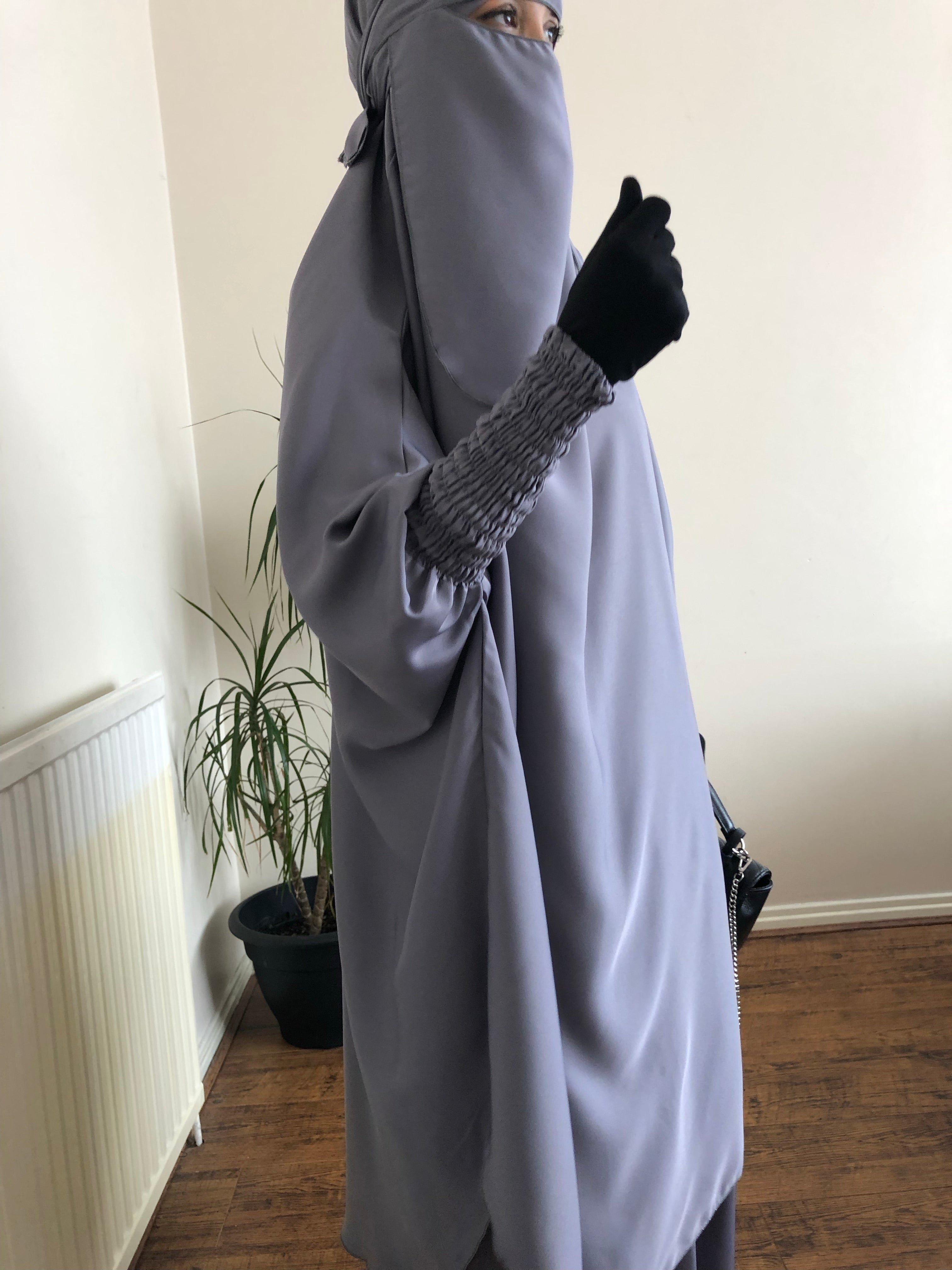 JILBAB MAKKAH DELUXE Grey medium (+niqab)