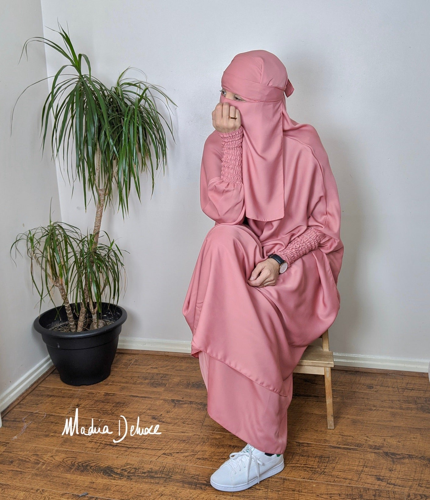 NEW ! JILBAB MAKKAH DELUXE (+niqab) Pink Candy floss