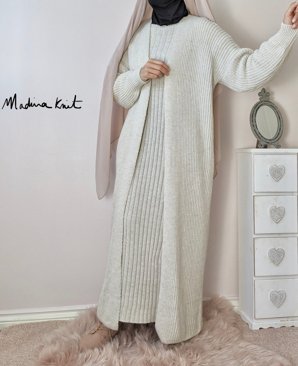 Winter Set AYDA Maxi Cardigan + Dress BEIGE