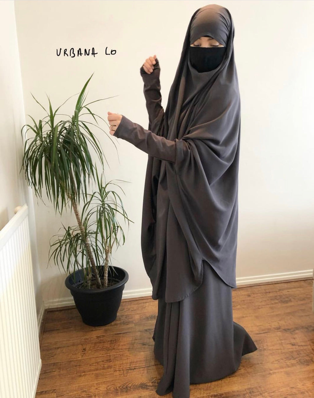 Jilbab Urbana SET 2 Pieces Deep Grey