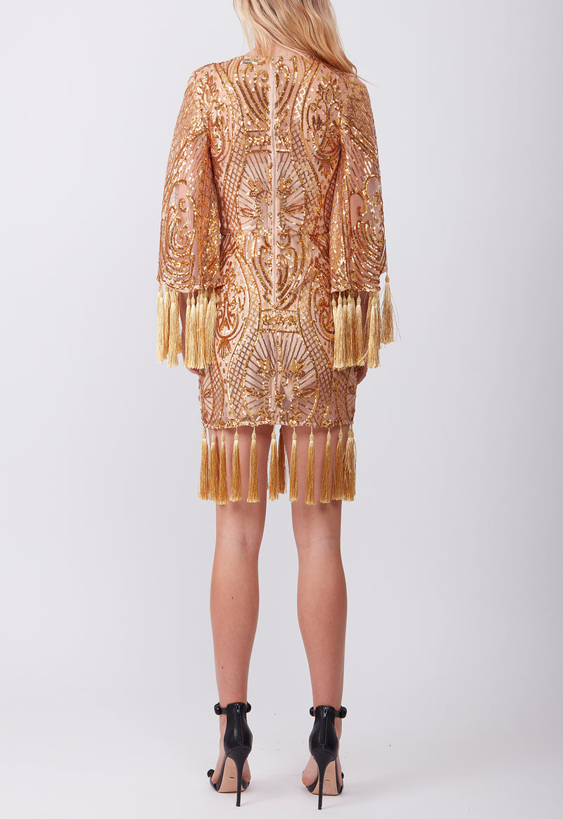 ANTIQUE TASSEL MINI DRESS GOLD