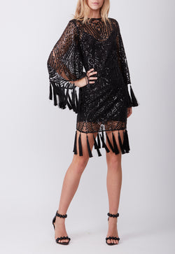 ANTIQUE TASSEL MINI DRESS BLACK