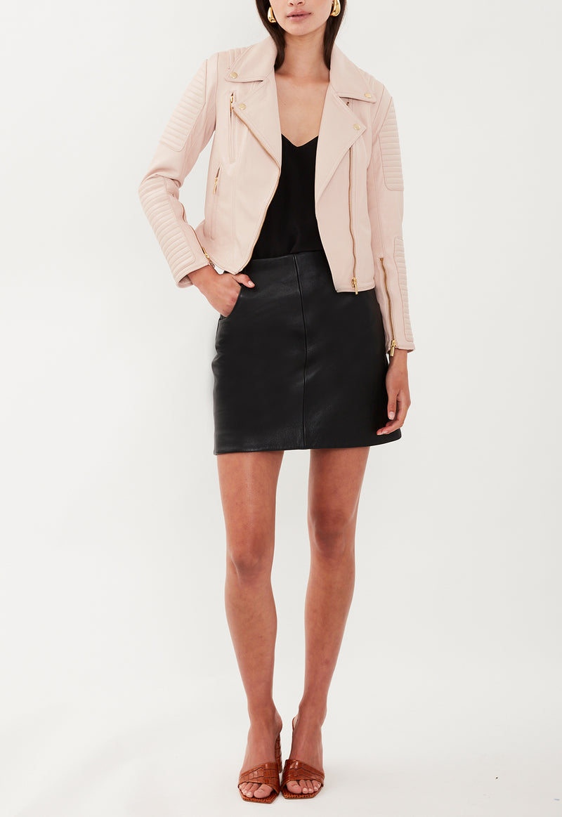 LEATHER BIKER JACKET BLUSH