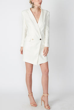 LINEN BLAZER DRESS WHITE