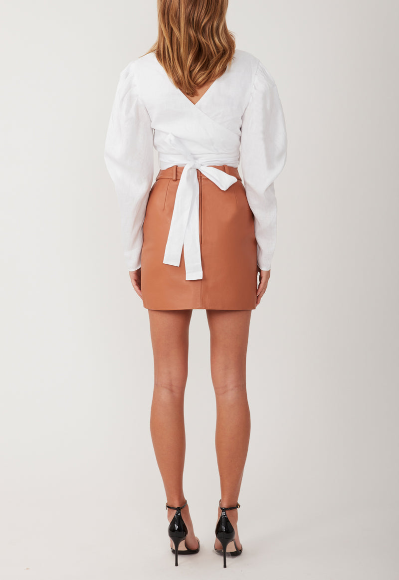 BUTTON ME UP LEATHER MINI TAN