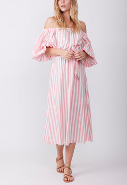 CASUAL WEEKEND DRESS BABY PINK STRIPE