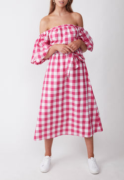 THE CASUAL WEEKEND DRESS PINK GINGHAM