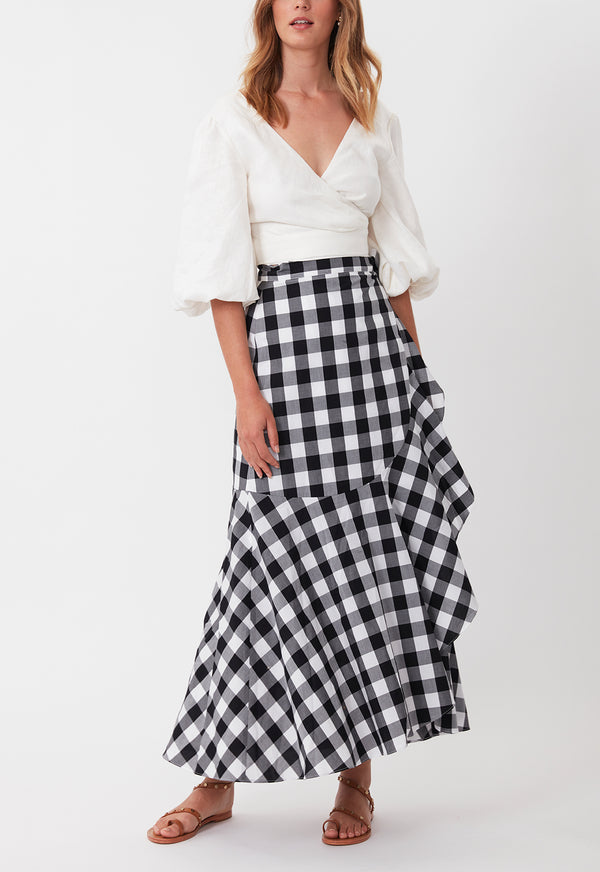 THE WEEKEND WRAP SKIRT BLACK WHITE